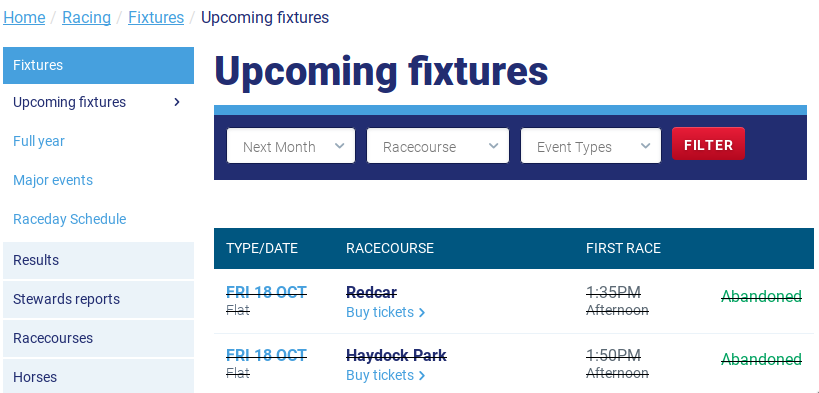 Kalender der Website des British Horse Racing Boards